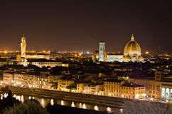 Взгляд ночи к горизонту Флоренс, Тоскане, Италии Стоковые Изображения RF