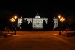 Взгляд ночи к Palacio реальному, Мадриду, Испании Стоковая Фотография RF
