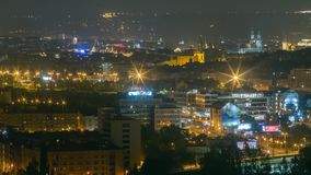 Взгляд ночи Праги от верхней части акции видеоматериалы