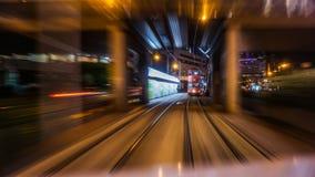 Взгляд ночи района финансового района Гонконга центральный от двигать Стоковая Фотография RF