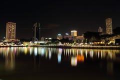 Взгляд ночи Сингапур Стоковая Фотография