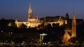 Взгляд ночи части Buda Будапешта акции видеоматериалы