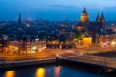 взгляд ночи amsterdam Стоковое фото RF