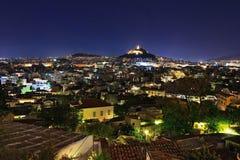 взгляд ночи athens акрополя стоковое изображение