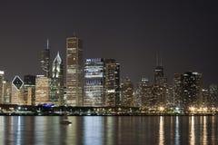 взгляд ночи chicago городской Стоковые Фото
