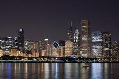 взгляд ночи chicago городской Стоковое Фото