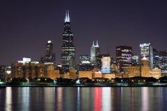 взгляд ночи chicago городской Стоковые Изображения