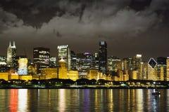 взгляд ночи chicago городской Стоковое Изображение RF