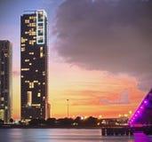 взгляд ночи florida miami города цветастый Стоковое фото RF