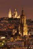 Взгляд ночи Sacre Coeur Стоковое Изображение RF