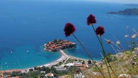 Взгляд общего блага Sveti Stefan и wildflowers Черногория акции видеоматериалы