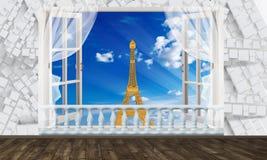 Взгляд окна Эйфелевой башни Обои фото для интерьера перевод 3d иллюстрация вектора