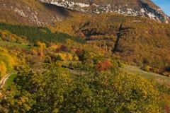 Взгляд осени одичалой горы в Умбрии Стоковое фото RF