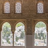 Взгляд от Альгамбра на Albayzin в Гранаде стоковое фото rf
