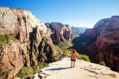 Взгляд от ангелов приземляясь в национальный парк Сиона Стоковые Изображения