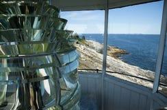 Взгляд от башни маяка Мейна с объективом Fresnel Стоковая Фотография RF