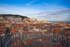 Взгляд от вершины лифта Санты Justa на Лиссабоне Стоковая Фотография