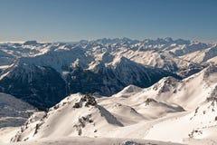 Взгляд от вершины Cime Caron в Val Thorens Стоковые Фотографии RF