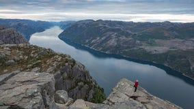 Взгляд от вершины Preikestolen, утеса амвона Стоковое Изображение RF