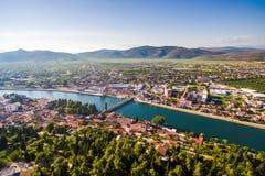Взгляд от воздуха в малом месте в южной Хорватии Стоковые Изображения