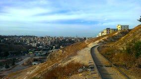 Взгляд от восточного Аммана, Джордана стоковое фото