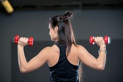 Взгляд от задней части sporty девушки выполняет тренировку с du Стоковое Фото