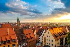 Взгляд от замка Нюрнберга к городку Нюрнберга старому Стоковая Фотография RF