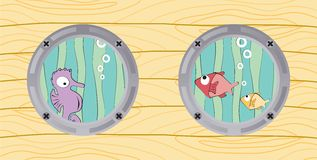Взгляд от окон шлюпки: seahorse и рыбы бесплатная иллюстрация