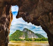 Взгляд от подземелья Красивейший ландшафт Лаос Стоковое фото RF