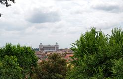 Взгляд от точки зрения Pincio или холма Рима Pinciano, Италии стоковое изображение