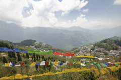 Взгляд от точки зрения Tashi на Gangtok, Индии Стоковые Изображения RF
