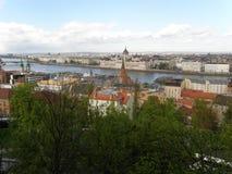 Взгляд от холма Buda, Будапешт, Венгрии Стоковое Изображение