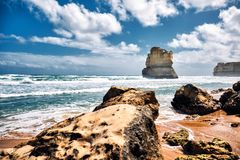 Взгляд от шагов Гибсон, Австралия 12 апостолов сценарный, Виктория стоковые изображения