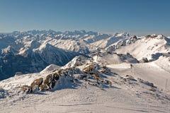 Взгляд от Cime Caron в Val Thorens Стоковое фото RF