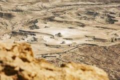 Взгляд от Masada на пустыне на солнечный день стоковая фотография