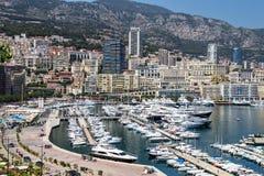 Взгляд палаты Condamine Ла и порта Геркулеса в Монако Стоковые Фотографии RF
