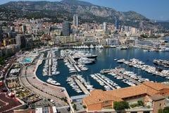Взгляд палаты Condamine Ла и порта Геркулеса в Монако Стоковое Изображение