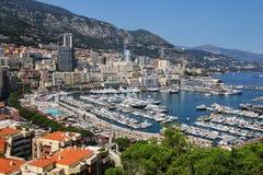 Взгляд палаты Condamine Ла и порта Геркулеса в Монако Стоковая Фотография RF