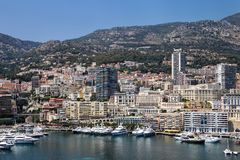 Взгляд палаты Condamine Ла и порта Геркулеса в Монако Стоковое Фото