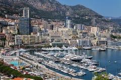 Взгляд палаты Condamine Ла и порта Геркулеса в Монако Стоковые Изображения RF