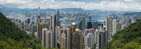 Взгляд панорамы горизонта Гонконга Стоковое Изображение RF