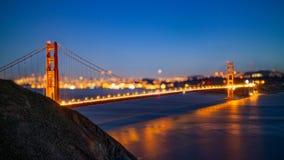 Взгляд панорамы моста золотого строба на twilight времени Стоковое Фото