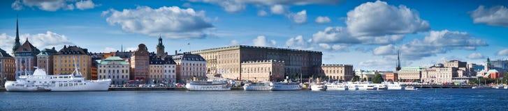 Взгляд панорамы Gamla Stan, Стокгольма, Швеци Стоковые Фото