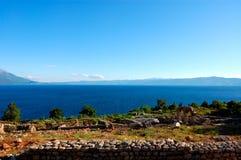 взгляд панорамы ohrid озера стоковое фото rf
