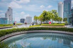 Взгляд парка ЗНАЧКА СИАМА, новые торговый центр и ориентир Бангкока, Т стоковая фотография