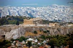 взгляд Парфенона и Афин, Греции стоковое фото rf