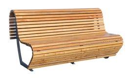 Взгляд перспективы деревянной скамьи изолировано Стоковые Фото