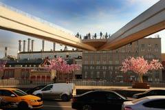 Взгляд плавучего моста с туристами и проезжей частью с автомобилями Стоковые Изображения RF