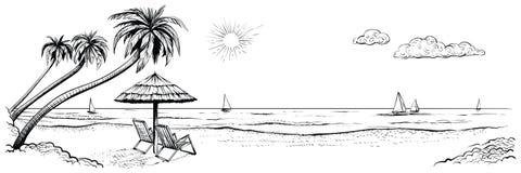 взгляд пляжа панорамный Vector иллюстрация взморья с ладонями, 2 стульями, зонтиком и яхтами иллюстрация вектора