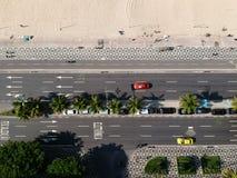 Взгляд пляжа Leblon воздушного трутня городской, Рио-де-Жанейро стоковое изображение rf